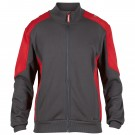 SWEAT CARDIGAN AVEC COL GRIS ANTHRACITE/ROUGE TOMATE